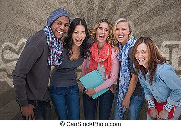 amis, poser, groupe ensemble, heureux