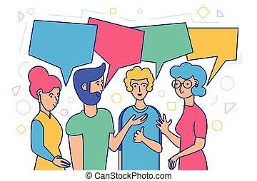 amis, réunion, amical, conversation