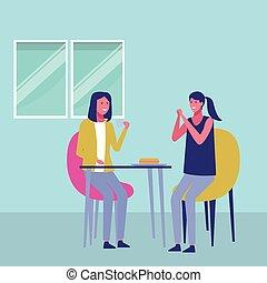 amis, réunion, dessin animé