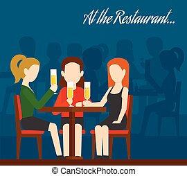 amis, réunion, restaurant