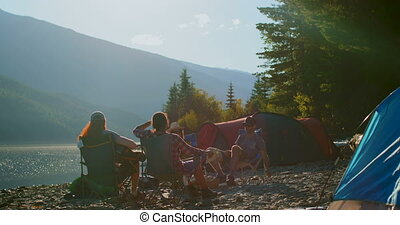 amis, rive, camping, groupe, 4k
