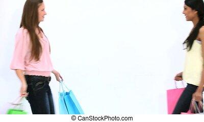 amis, sacs, quoique, achats, tenue, baisers