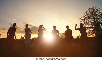 amis, sauter, coucher soleil, heureux