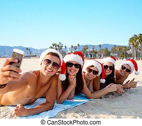 amis, selfie, noël, plage, prendre, heureux