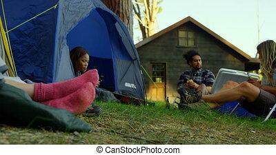 amis, tente, forêt, délassant, 4k
