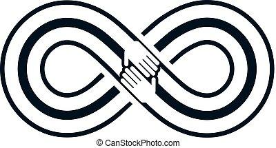 amis, toujours, éternel, amitié, beau, vecteur, logo, combiné, à, deux, symboles, de, éternité, boucle, et, humain, hands.