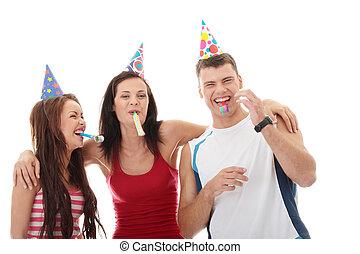 amis, trois, heureux