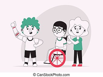 amis, vecteur, caractère, handicapé, gosses, illustration