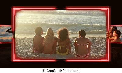 amis, vidéos, coucher soleil, sous