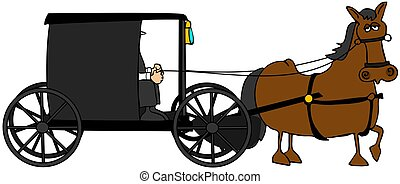 Amish Buggy - This illustration depicts an Amish buggy and...