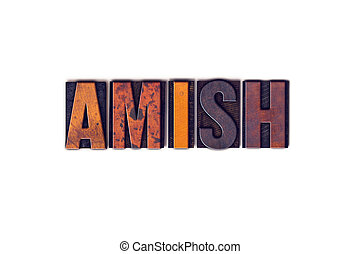 amish, concetto, tipo, isolato, letterpress