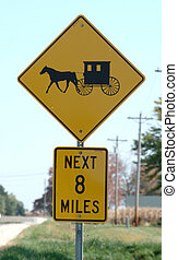 Amish Country - An Amish wagon warning sign on the highway.