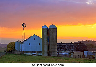 An Amish farm in Lancaster County, Pennsylvania at sunrise.