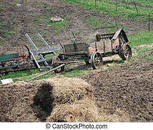 Amish farm horse drawn equipment