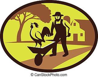 amish, fazenda, agricultor, galo, retro, carrinho de mão,...