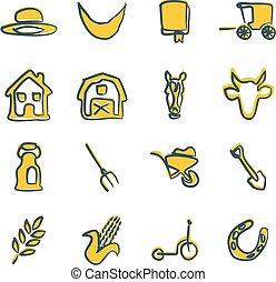 amish, freehand, 2, szín, ikonok