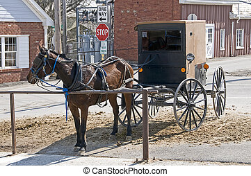 Amish horse and buggy hitched to a post in a modern...