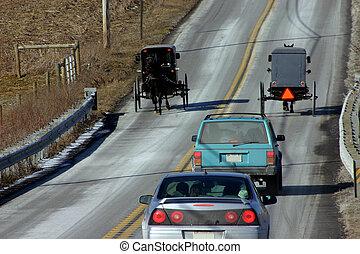 Amish & modern life near Lancaster, PA. February 2007