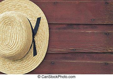 amish, porta, paglia, frollare, cappello uomo, granaio rosso