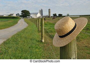 Amish straw hat in Lancaster Pennsylvania