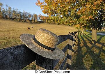 Amish Straw Hat in Pennsylvania Fall
