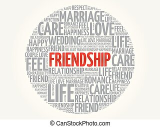 amistad, círculo, palabra, nube