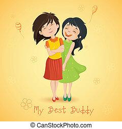 amistad, día, feliz
