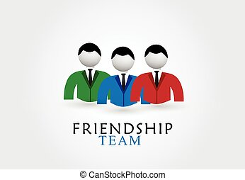 amistad, equipo, logotipo