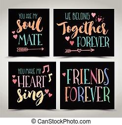 amistad, mano, letras, frases, vector, conjunto