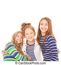 amistad, niños, reír