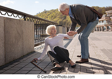 amistoso, pensionista, porción, viejo, mujer, aire libre