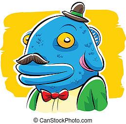 amistoso, pez, cabeza, hombre