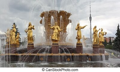 amitié, all-russia, fontaine, exposition, centre