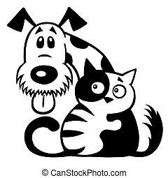 amitié, blanc, chien noir, chat