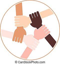 amitié, cercle, fond blanc