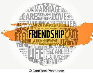 amitié, cercle, mot, nuage