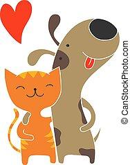 amitié, chien, chat