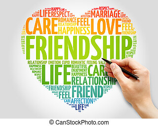 amitié, concept, coeur