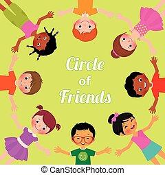 amitié, enfants, de, monde