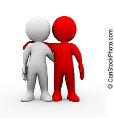amitié, gens, partenaires, 3d