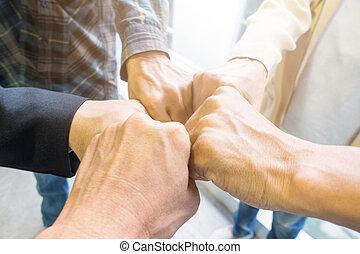 amitié, groupe, ensemble., mains affaires