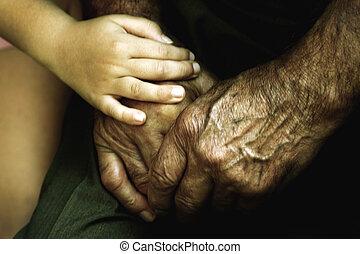 amitié, mains, amour, petit-fils, grand-père