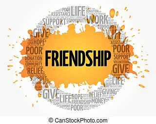 amitié, mot, nuage, collage
