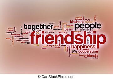 amitié, résumé, mot, nuage, fond