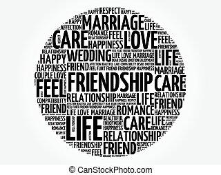 amizade, círculo, palavra, nuvem