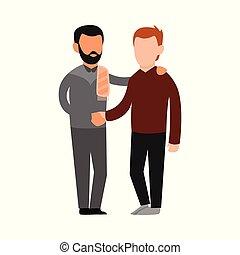 amizade, desenho, muçulmano, ilustração, pessoas