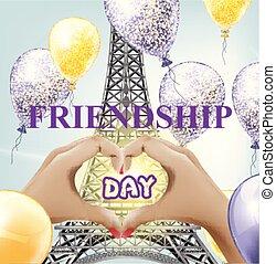 amizade, dia, torre eiffel, amor, paris, vetorial