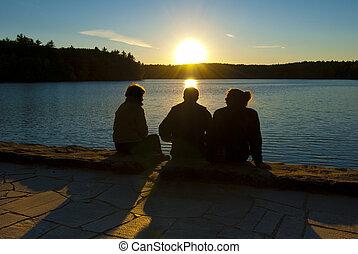 amizade, em, pôr do sol
