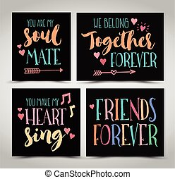 amizade, mão, lettering, frases, vetorial, jogo