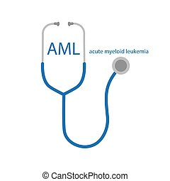 AML Acute Myeloid Leukemia text and stethoscope icon